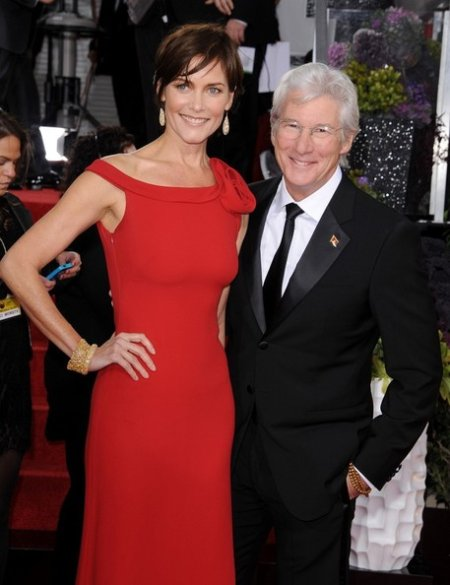 Carey Lowell and her third ex-husband, Richard Gere at the 70th Annual Golden Globe Awards