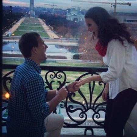 Kirk Cousins proposing Julie Hampton at the balcony of the Speaker of the House's office