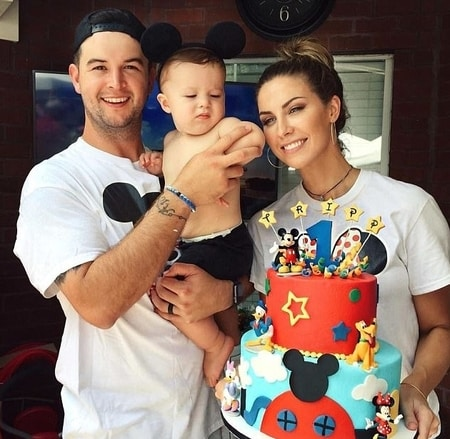 AJ McCarron and Katherine with their son Tripp McCarron at his birthday