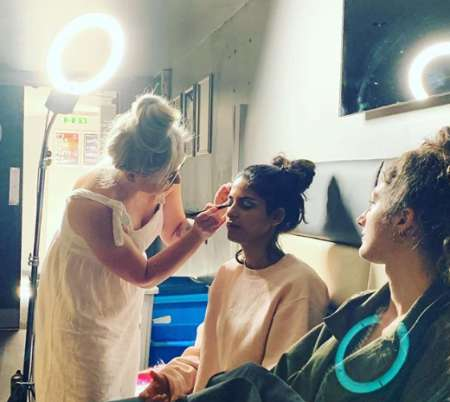 Daisy readying for makeup. Know more about Daisy instagram, height, movies, twitter, net worth, salary, income, marriage, dating, husband and many more