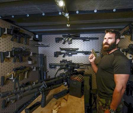 Dan and his gun collections. Know more about Dan height, net worth, instagram, house, bio, Twiiter and age