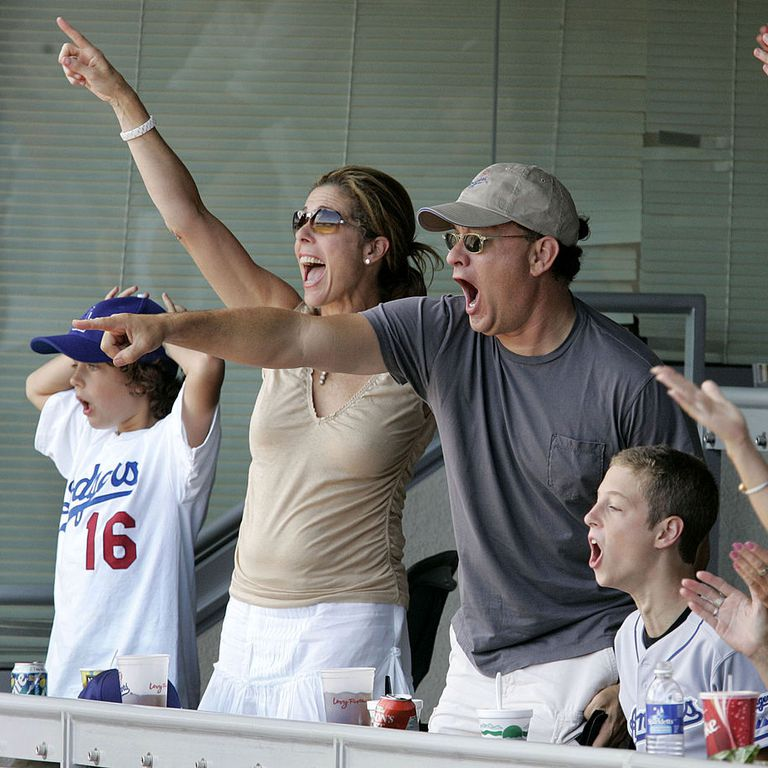 Tom Hanks' whole family at an LA Dodgers vs. St. Louis Cardinals baseball game on September 12. Know more about Tom Hank marriage, wife, children, affairs, and other marital and wedding details