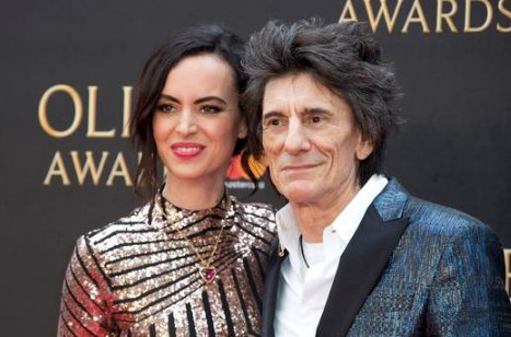 Ronnie Wood with his current wife Sally Humphreys during an event.
