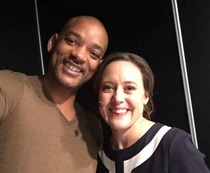 Sally Bundock with Hollywood star Will Smith. career, professional life