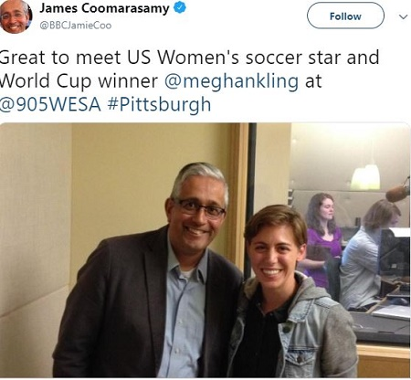 James Coomarasamy with US Women's soccer star and World Cup winner Mega Hanking.Know more about James' career,wiki, bio, parents.