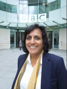 Ritula Shah in her BBC Studio. income, earning, net worth