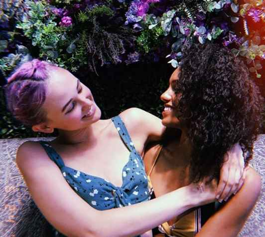 Maisie Richardson-Sellers with her partner Clay. partner, lover, relationship
