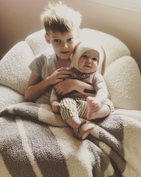 Luca Cruz Comrie with his younger half-sister, Banks Violet Bair