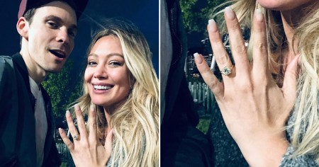 Hilary Duff shows her engagement ring