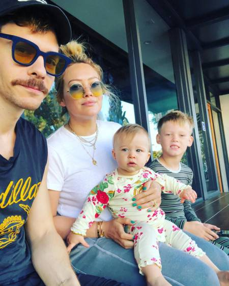 Hilary Duff with fiance, Mathew Koma and children