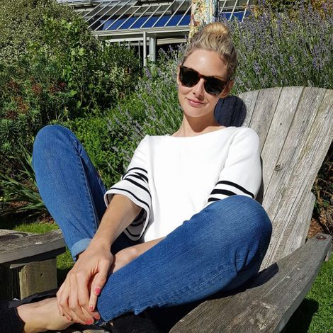 Tamsin Egerton while taking a sunbath on the backyard