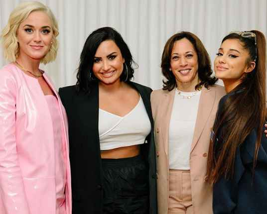 Kamala Harris with other popular American celebrity left Katy Perry, Demi Lovato and Ariana Grande