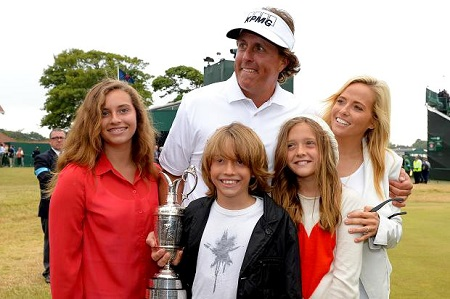 Phil Mickelson with his children and a wife
