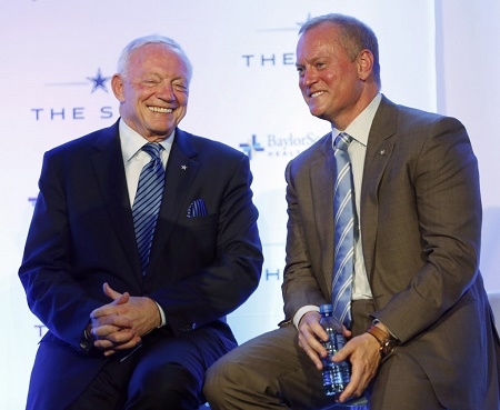 Dallas Cowboys owner and general manager Jerry Jones shares a laugh with Dallas Cowboys executive vice president Jerry Jones, Jr.