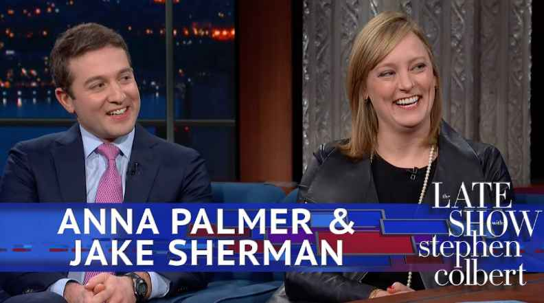 Anna Palmer and Jake Sherman on the Late Show Stephen Colbert