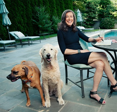 Amy with her dogs Arleen Siskind and Sheep Siskind.