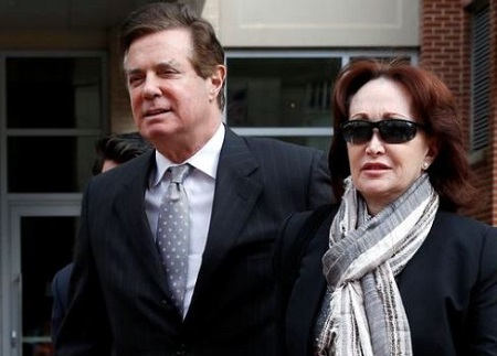 Jess Bond father, Paul Manafort and Mother, Kathleen Manafort walking.