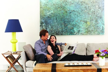 Tanya Taylor with her husband, Michel Pratte in their house in New York City, New York