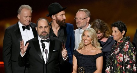 Chernobyl team accepting Outstanding Limited Series Award in the 2019 Emmy awards