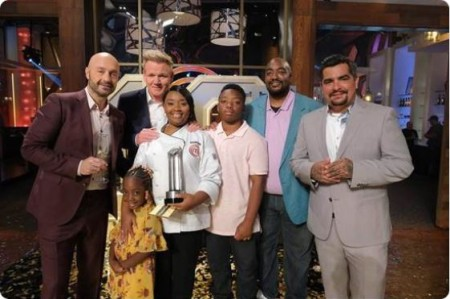 Dorian Hunter with her family and judges of Masterchef