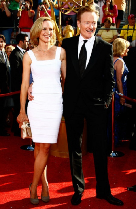 Liza Powel O'Brien and her husband, Conan O'Brien (R) at the 60th Primetime Emmy Awards held at Nokia Theatre on 21 September 2008