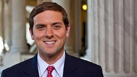 Luke Russert, the American correspondent smiling for the camera