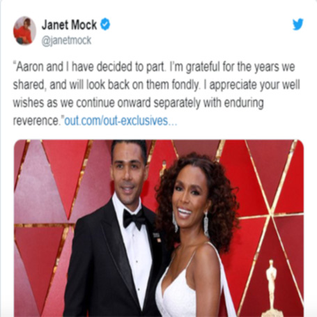 Janet with her ex-husband, tweet related to their separation