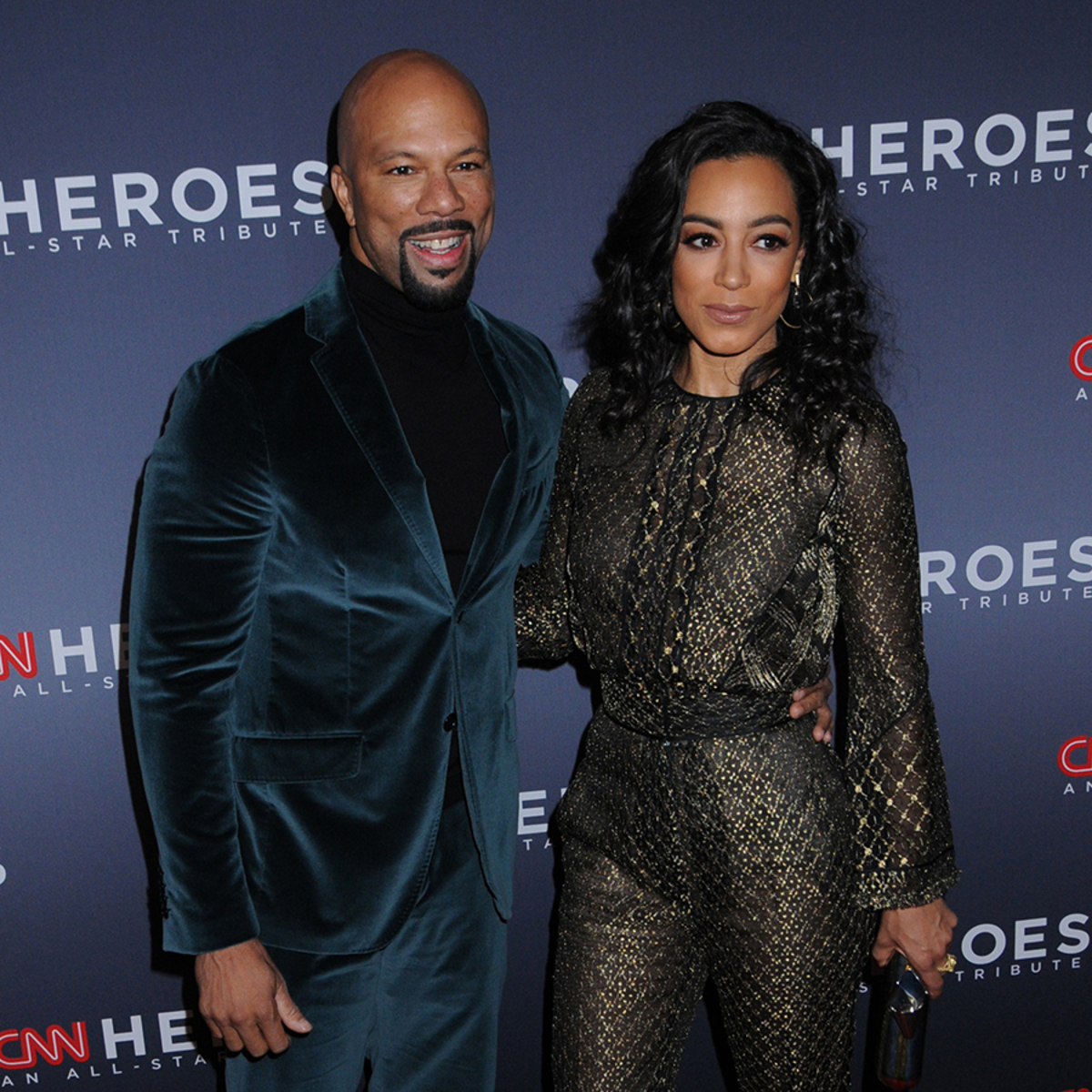 Angela and Common while attending an event