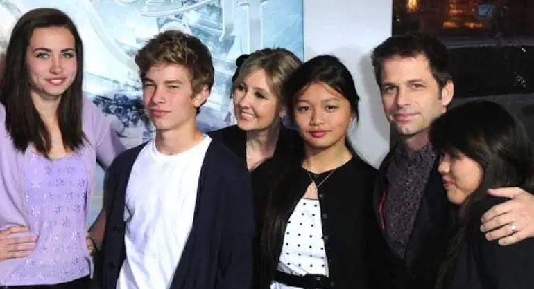 Zack Snyder with his wife and children at the movie screening