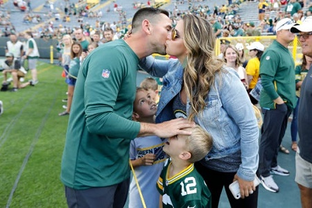 The Packers, Matt LaFleur with his wife and two sons