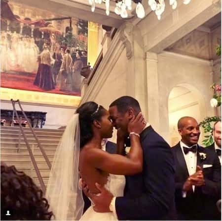 Abby Phillips with her husband Marcus Richardson at her wedding