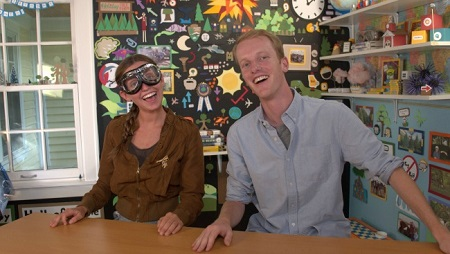 Kirby Engelman and her brother on the Weird But True tv show.