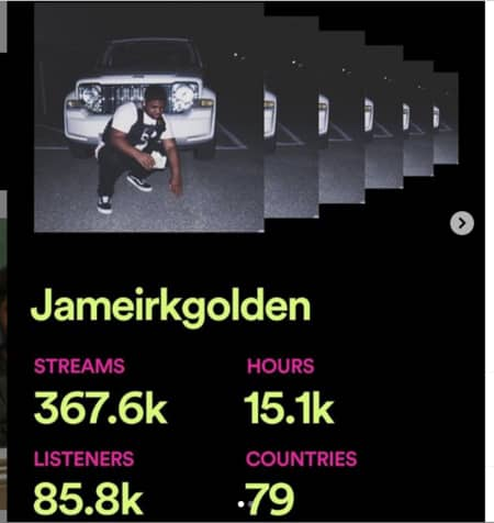 Jameir's spotify stats on his songs