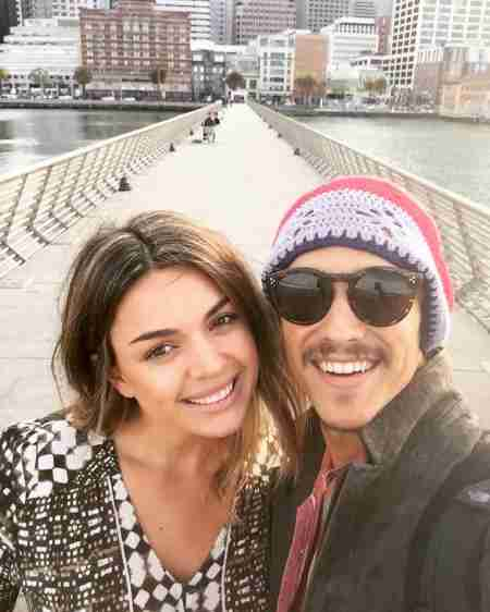 Chloe Pacey with her partner, Brenton Thwaites in San Francisco, California on 24th May 2016