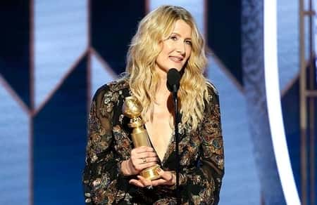 The dainty suited in Saint Laurent walked up the stage to receive her golden award for the movie Marriage story, as the best performer in a supporting role in a motion picture. Laura Den portrayed the character of the lead actress, Scarlett Johansson's lawyer.