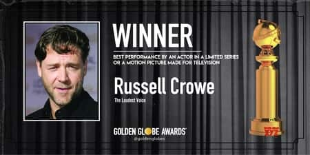 The winner of Best Performance by an Actor in a Limited Series or a Motion Picture Made for Television, Russell Crowe couldn't make it to the Award function but sent a message regarding the climate change.