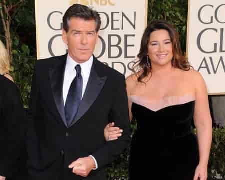 Pierce Bronsan with his wife Keeley Shaye Smith, making an appearance at Golden Globe Awards