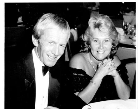 Noelene Edwards with her husband, Paul Hogan at the Lord's Taverners ball
