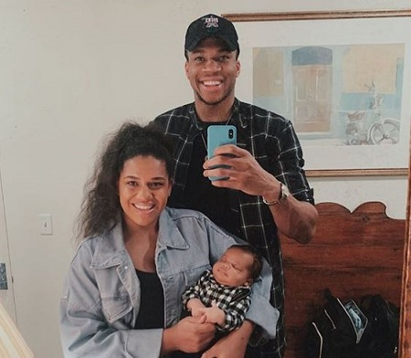 Giannis and Mariah pictured with their son Liam Charles Antetokounmpo