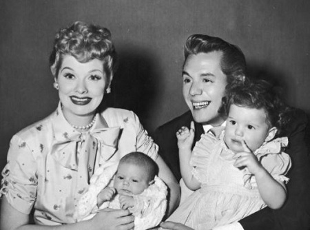 The childhood image of an actress Lucy Arnaz and her brother Desi Jr with their mother Lucille Ball and father Desi Arnaz.