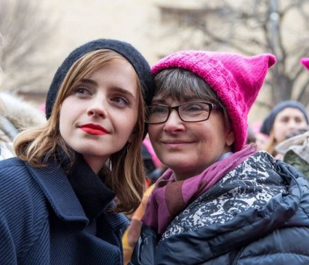Jacqueline Luesby (right) pictured with her celebrity daughter Emma Watson (actress, model).