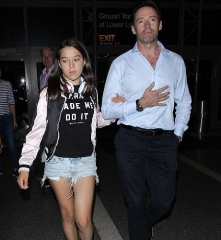 Ava Eliot Jackman With Her Father, Hugh Jackman