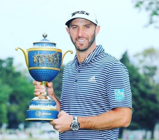 The American golfer Dustin Johnson after winning the World Golf Championship in 2019.