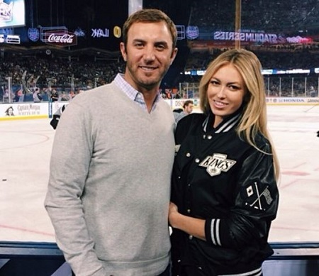 The American golf player Dustin Johnson with his girlfriend-turned-wife Paulina Gretzky.