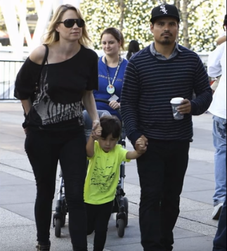 Michael Peña With His Wife Brie Shaffer And His Child Roman Pena