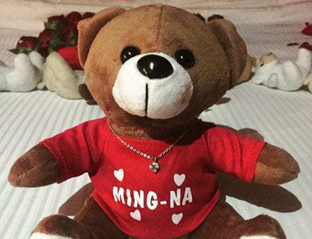 The teddy also wore a shirt with Wen's name on it