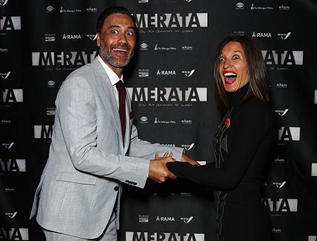 Taika Waititi with his wife Chelsea at the premiere of Merata.