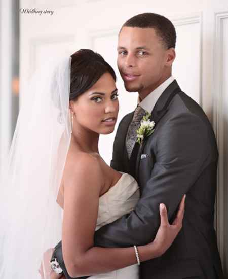 Stephan Curry and his wife Ayesha on their wedding