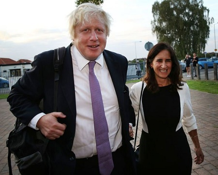 British Prime Minister Boris Johnson with his divorced wife, Marina Wheeler