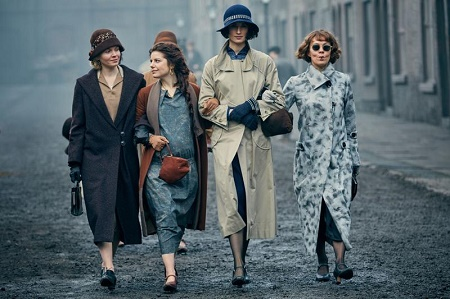 Natasha O'Keeffe (left) with Peaky Blinders' co-stars Aimee-Ffion Edwards, Kate Phillips, and Helen McCrory